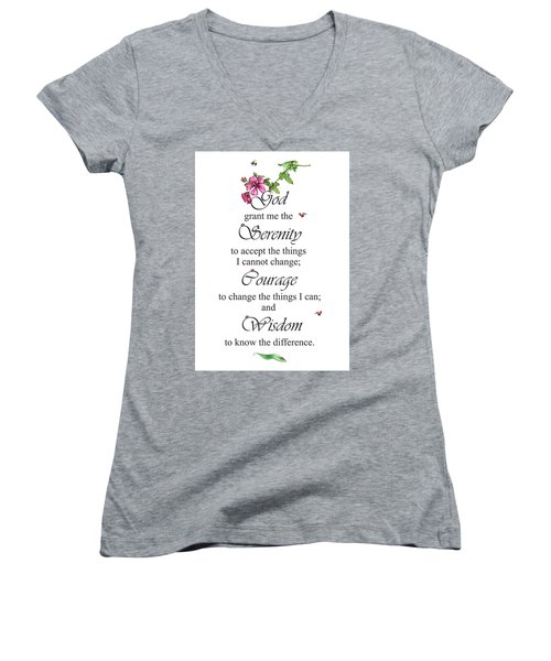Serenity Prayer Women's V-Neck (Athletic Fit)