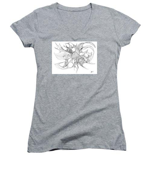 Serenity Swirled Women's V-Neck T-Shirt (Junior Cut) by Charles Cater