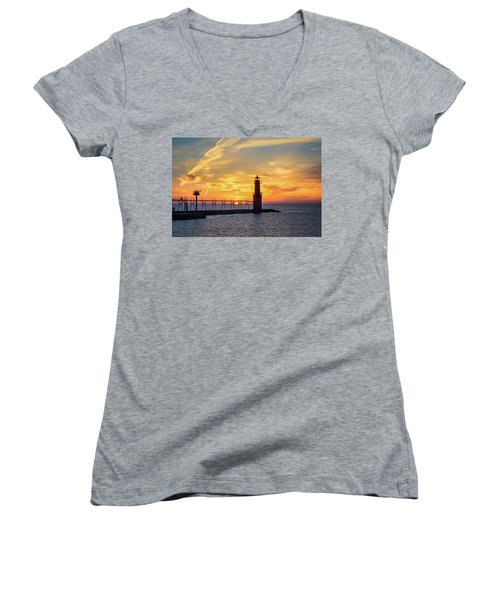 Women's V-Neck T-Shirt featuring the photograph Serious Sunrise by Bill Pevlor