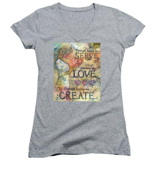 Serve Love Create Women's V-Neck T-Shirt