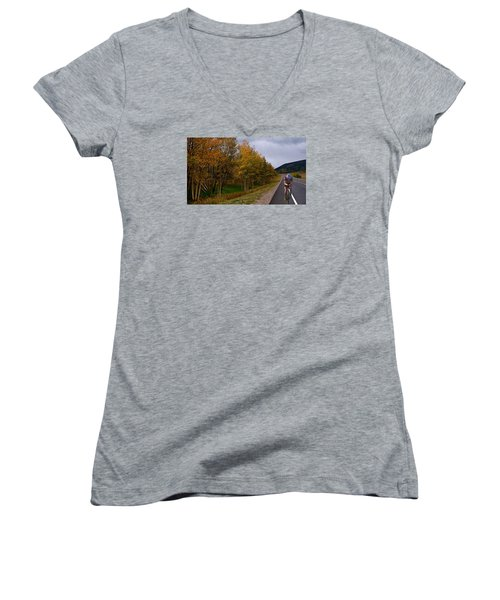 Women's V-Neck T-Shirt (Junior Cut) featuring the photograph Set Your Own Pace by Laura Ragland