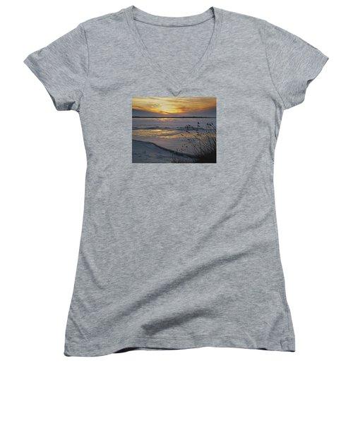 Setting Sun Women's V-Neck T-Shirt (Junior Cut) by Judy Johnson