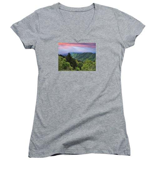Setting Sun Over The Smokey Mountains Women's V-Neck