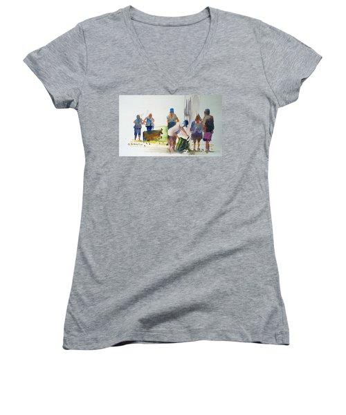 Setting Up Women's V-Neck T-Shirt (Junior Cut) by P Anthony Visco