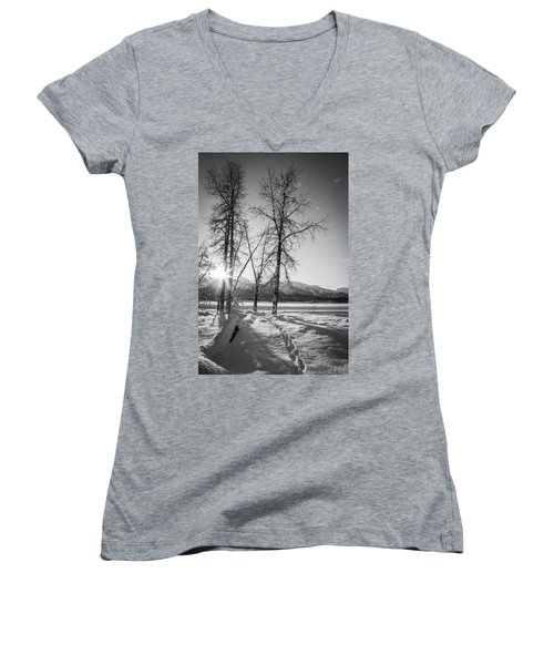 Setting Winter Sun Women's V-Neck T-Shirt (Junior Cut) by Michele Cornelius