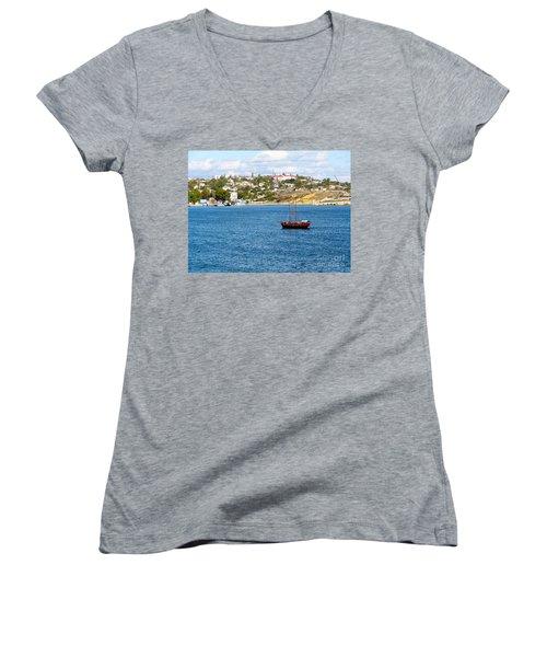 Sevastapol. Ukraine Women's V-Neck T-Shirt (Junior Cut) by Phyllis Kaltenbach