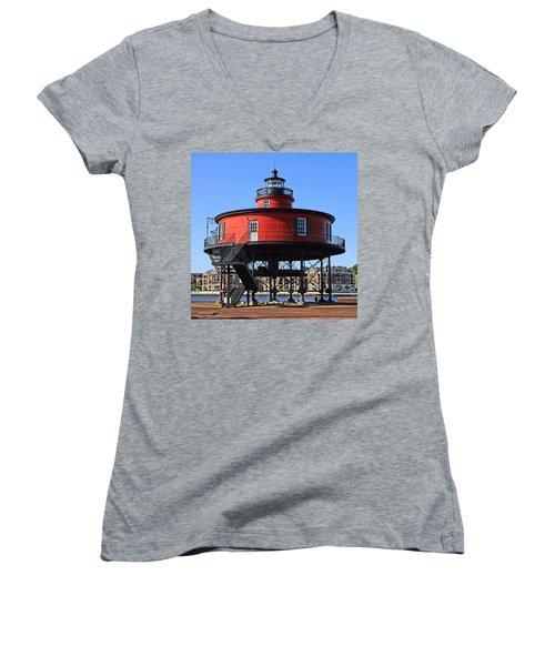 Seven Foot Knoll Women's V-Neck T-Shirt (Junior Cut) by DJ Florek
