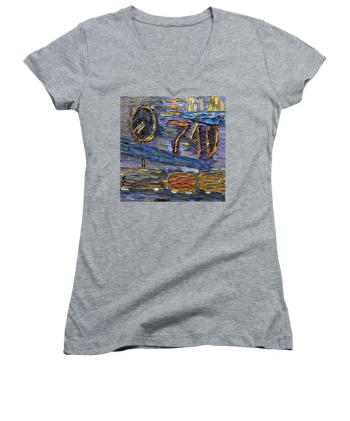 Women's V-Neck T-Shirt featuring the painting Seven Forty by Vadim Levin