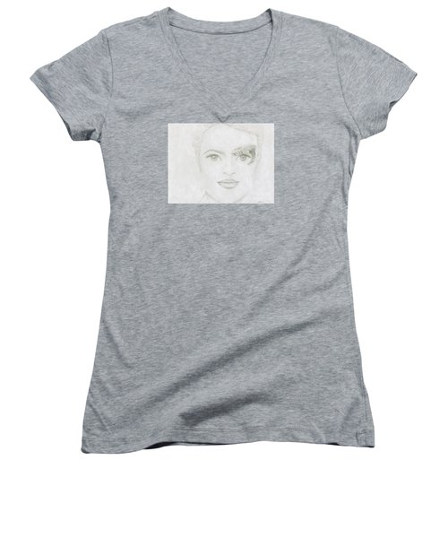 Women's V-Neck T-Shirt (Junior Cut) featuring the drawing Seven by Kim Sy Ok