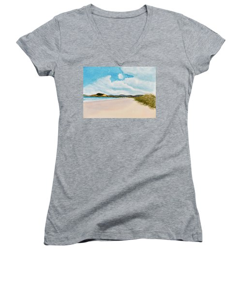 Women's V-Neck featuring the painting Seven Mile Beach On A Calm, Sunny Day by Dorothy Darden