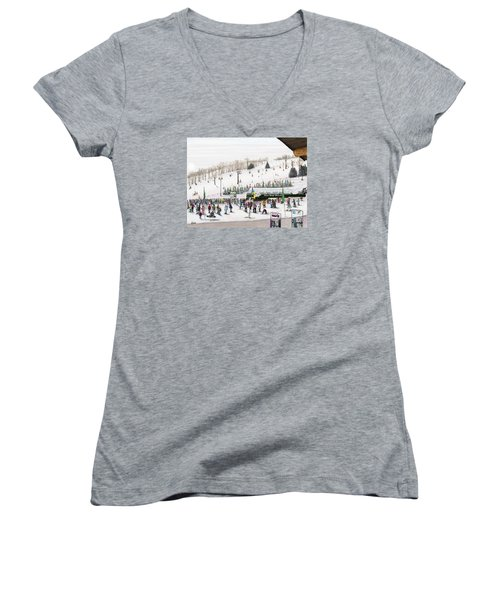 Women's V-Neck T-Shirt (Junior Cut) featuring the painting Seven Springs Stowe Slope by Albert Puskaric