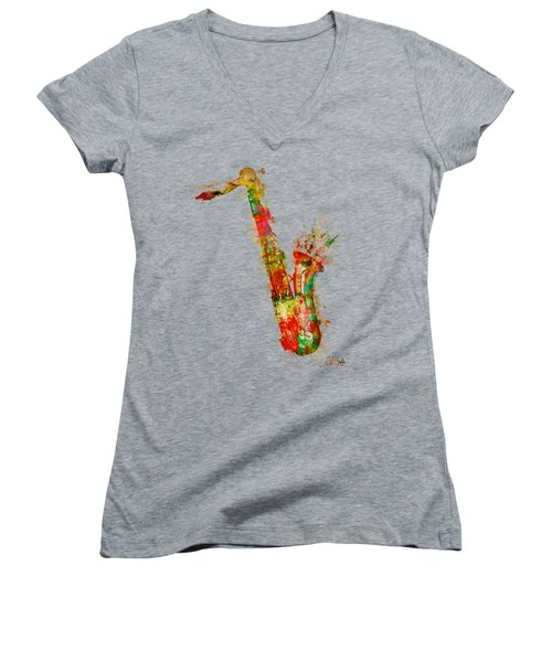 Sexy Saxaphone Women's V-Neck T-Shirt (Junior Cut) by Nikki Smith