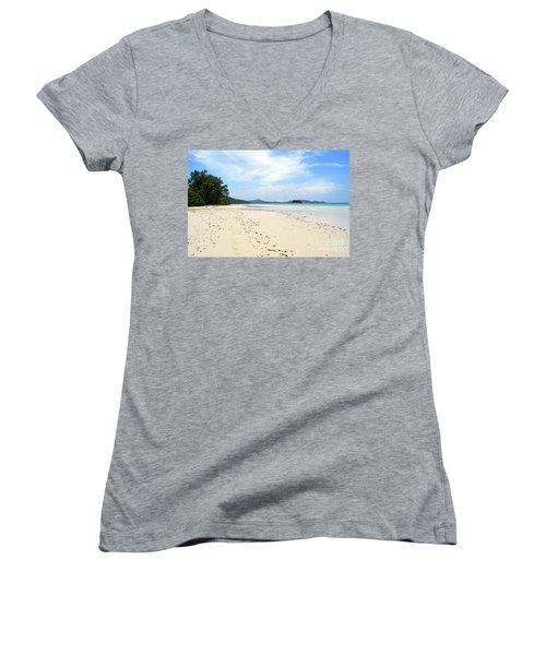 Women's V-Neck T-Shirt (Junior Cut) featuring the digital art Seychelles Islands 5 by Eva Kaufman
