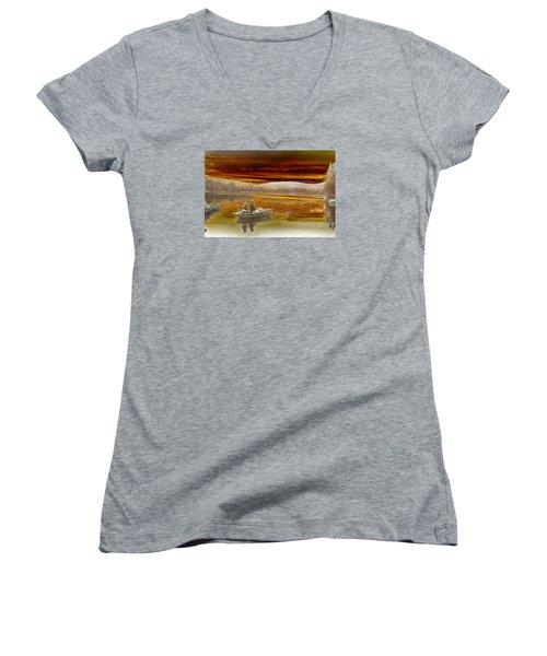 Seyon Sunset Women's V-Neck T-Shirt (Junior Cut)