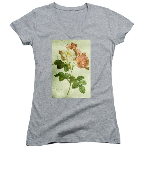 Shabby Chic Pink And White Peonies Women's V-Neck