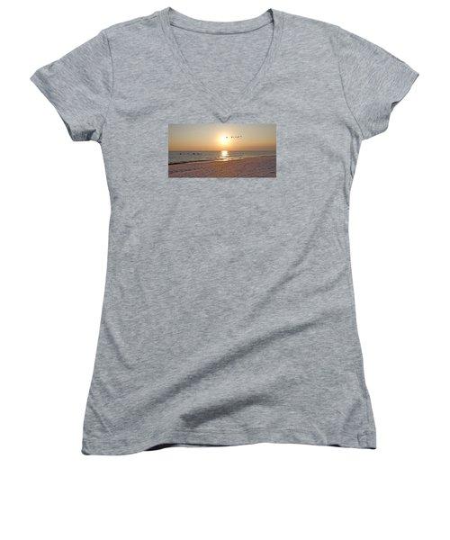 Shackleford Banks Sunset Women's V-Neck T-Shirt (Junior Cut) by Betsy Knapp