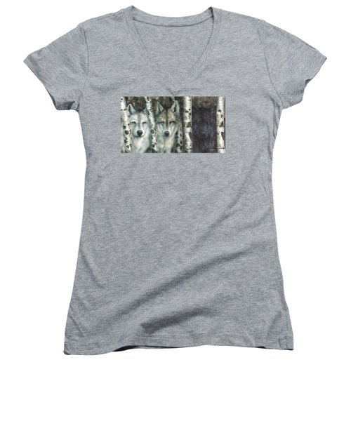 Shades Of Gray Women's V-Neck (Athletic Fit)