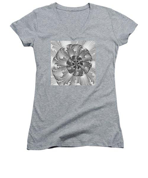 Women's V-Neck T-Shirt (Junior Cut) featuring the digital art Shades Of Silver by Lea Wiggins
