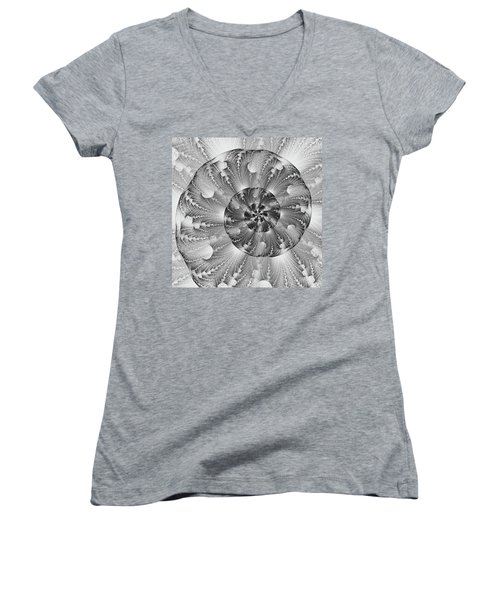 Shades Of Silver Women's V-Neck T-Shirt