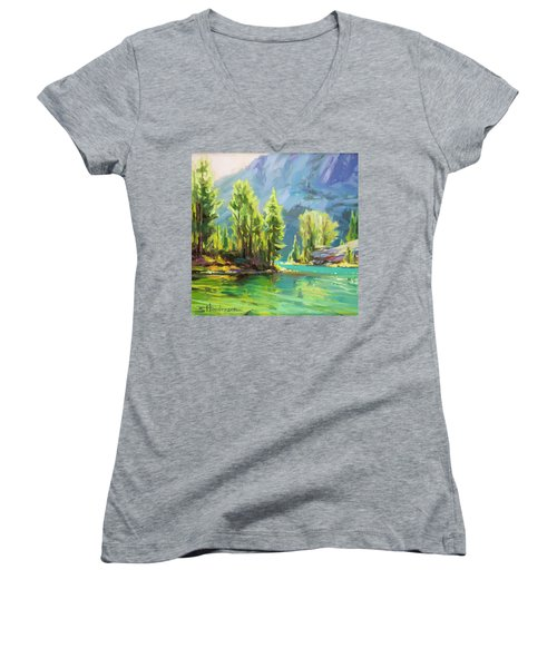 Women's V-Neck featuring the painting Shades Of Turquoise by Steve Henderson