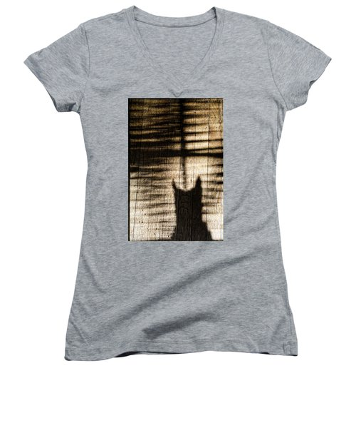 Shadow Cat Women's V-Neck (Athletic Fit)