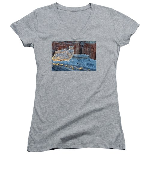 Shadows At Coal Mine Canyon Women's V-Neck T-Shirt (Junior Cut) by Tom Kelly