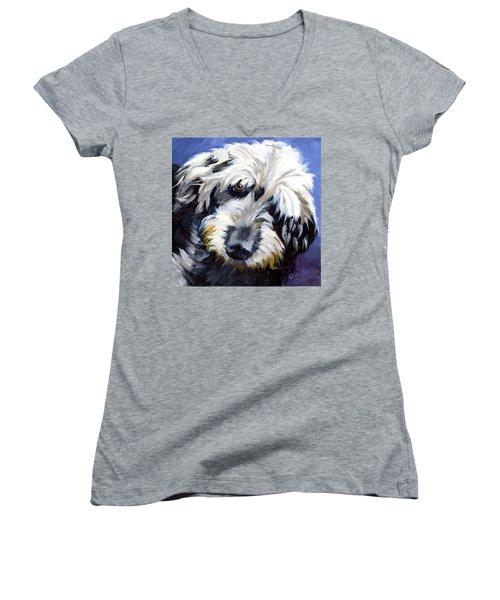 Shaggy Dog Portrait Women's V-Neck T-Shirt (Junior Cut) by Alice Leggett