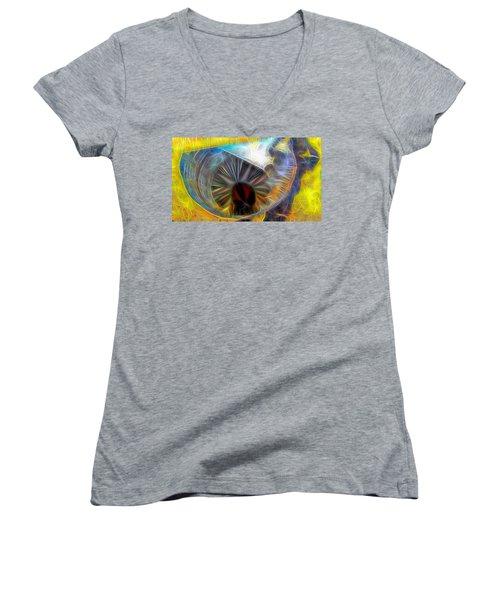 Women's V-Neck T-Shirt (Junior Cut) featuring the digital art Shallow Well by Ron Bissett