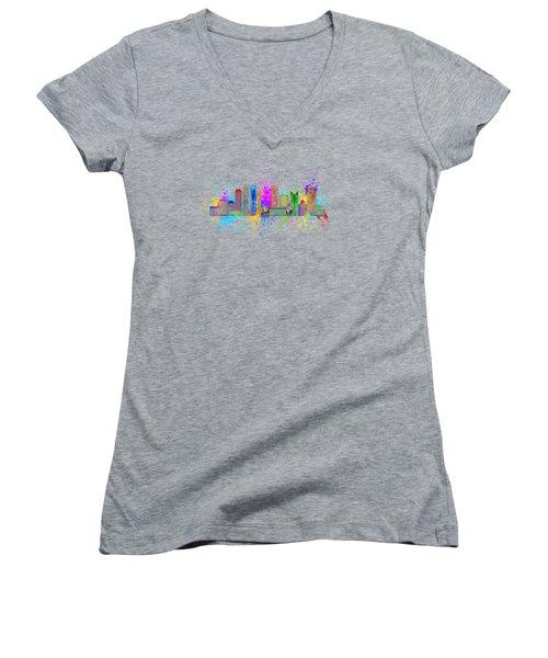 Shanghai Skyline Paint Splatter Illustration Women's V-Neck T-Shirt