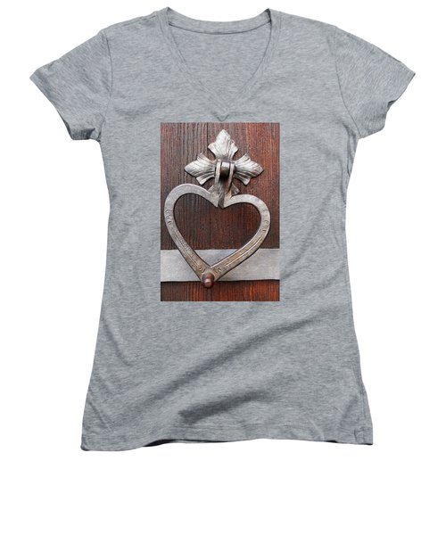 Women's V-Neck T-Shirt (Junior Cut) featuring the photograph Shape Of My Heart by Juergen Weiss