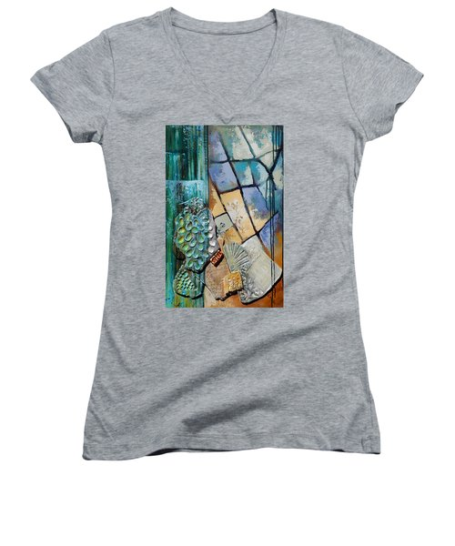 Women's V-Neck T-Shirt (Junior Cut) featuring the painting Shards Water Clay And Fire by Suzanne McKee