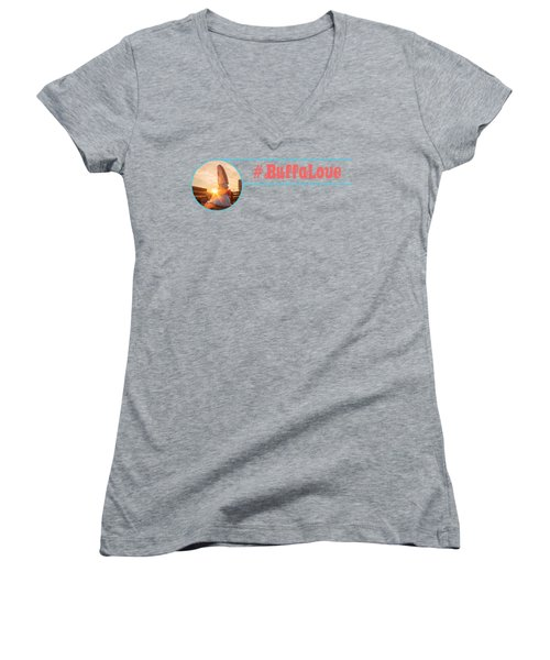 Women's V-Neck T-Shirt (Junior Cut) featuring the photograph Shark Girl Dawn by Chris Bordeleau