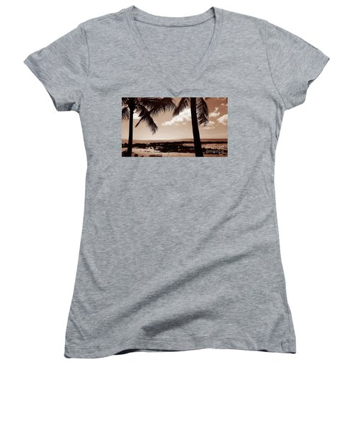 Women's V-Neck T-Shirt (Junior Cut) featuring the photograph Shark's Cove by Kristine Merc