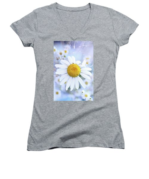Shasta Daisy Women's V-Neck T-Shirt (Junior Cut) by Stephanie Frey