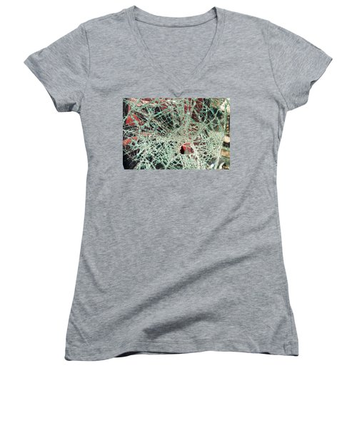 Women's V-Neck T-Shirt featuring the photograph Shattered Two by Fran Riley