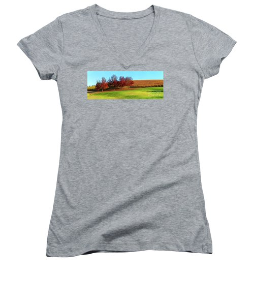 Women's V-Neck T-Shirt (Junior Cut) featuring the photograph Shaw And Smith Winery by Bill Robinson