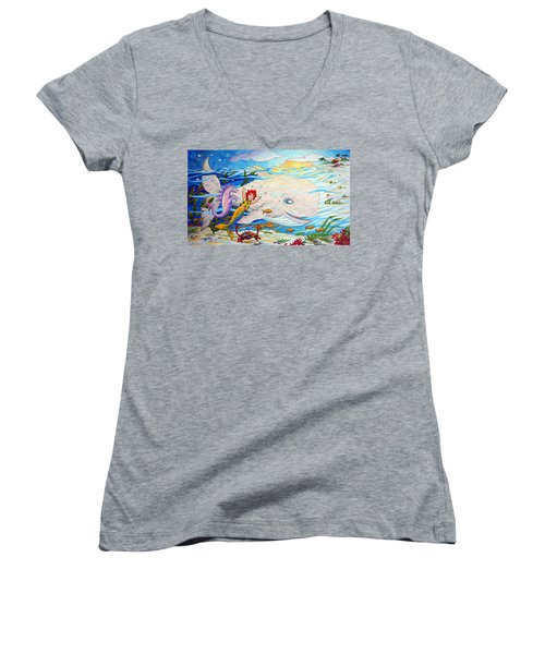 She Joyfully Swims  Women's V-Neck T-Shirt (Junior Cut) by Matt Konar