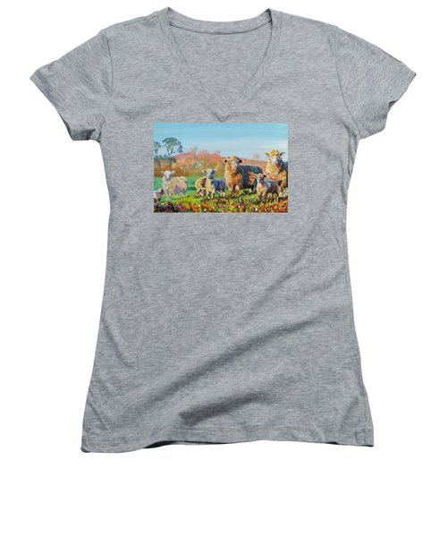Sheep And Lambs In Devon Landscape Bright Colors Women's V-Neck