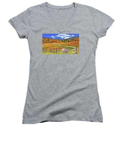 Sheep And Road Ver 1 Women's V-Neck T-Shirt