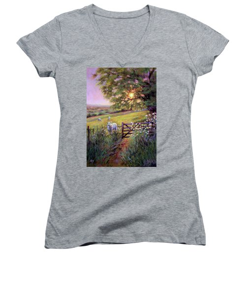 Sheep At Sunset Women's V-Neck