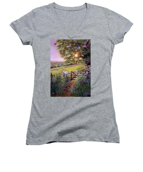 Sheep At Sunset Women's V-Neck T-Shirt