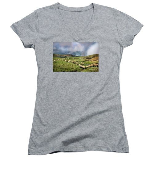 Sheep In Carphatian Mountains Women's V-Neck (Athletic Fit)