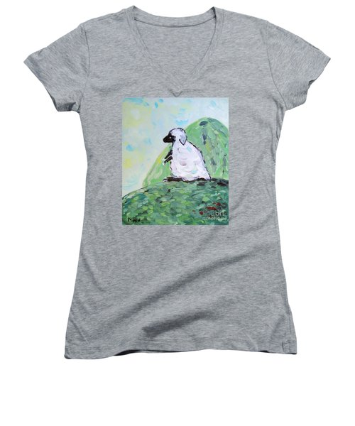 Sheep On A Hill Women's V-Neck