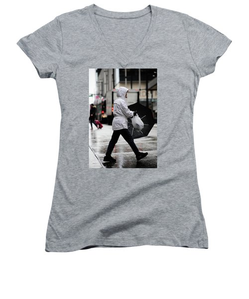 Women's V-Neck T-Shirt (Junior Cut) featuring the photograph Sheild Of Rain  by Empty Wall