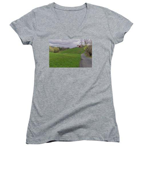 Shelburne Country Road Women's V-Neck T-Shirt (Junior Cut) by Tom Singleton