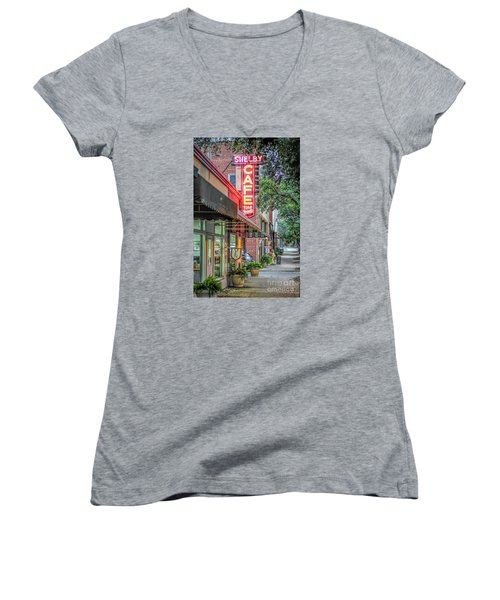 Women's V-Neck T-Shirt (Junior Cut) featuring the photograph Shelby Cafe by Marion Johnson