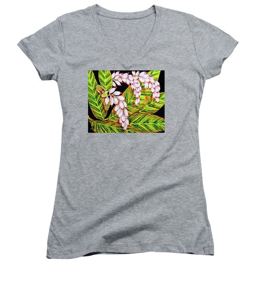 Shell Ginger Flowers Women's V-Neck T-Shirt