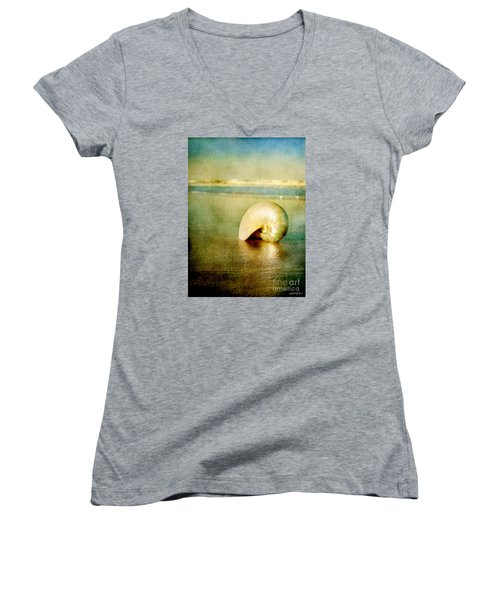 Women's V-Neck T-Shirt (Junior Cut) featuring the photograph Shell In Sand by Linda Olsen