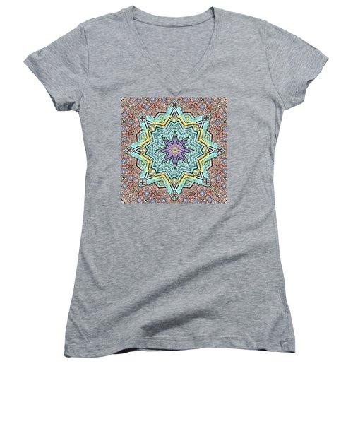 Shell Star Mandala Women's V-Neck T-Shirt (Junior Cut) by Deborah Smith