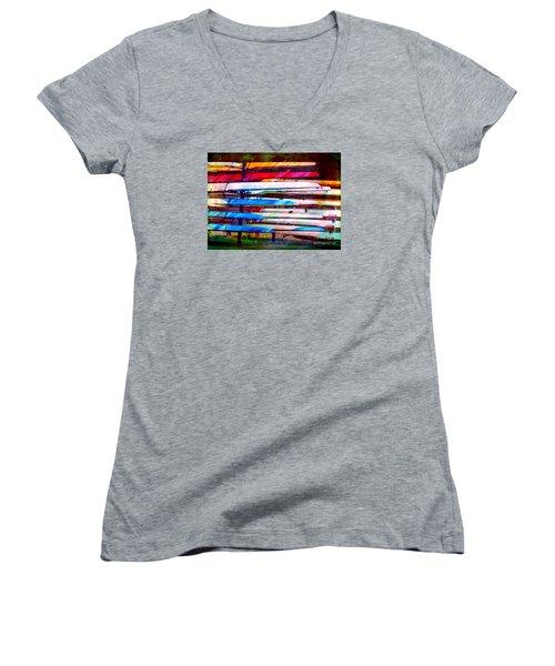 Shells At Henley Women's V-Neck T-Shirt (Junior Cut) by Judi Bagwell